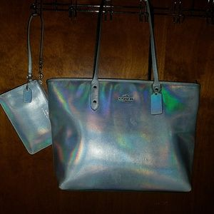 Coach hologram tote and wristlet.